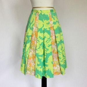 Floral Elevenses Anthropologie pleated skirt